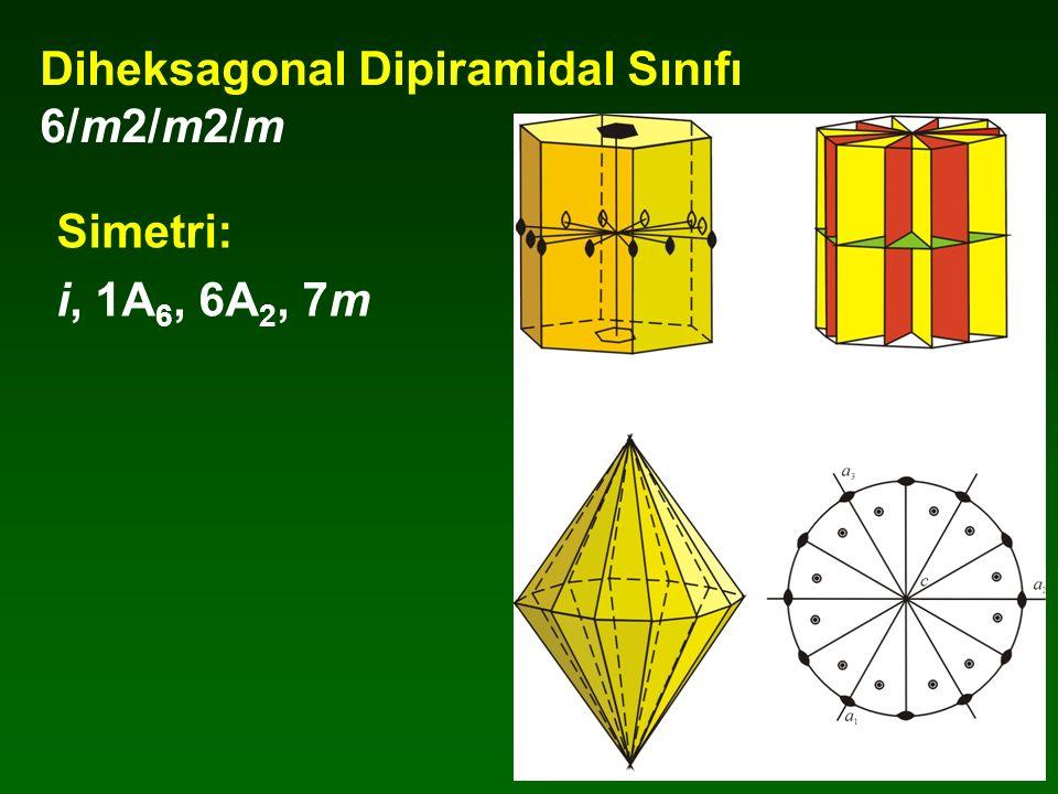Diheksagonal Dipiramidal Sınıfı 6/m2/m2/m Simetri: i, 1A 6, 6A 2, 7m