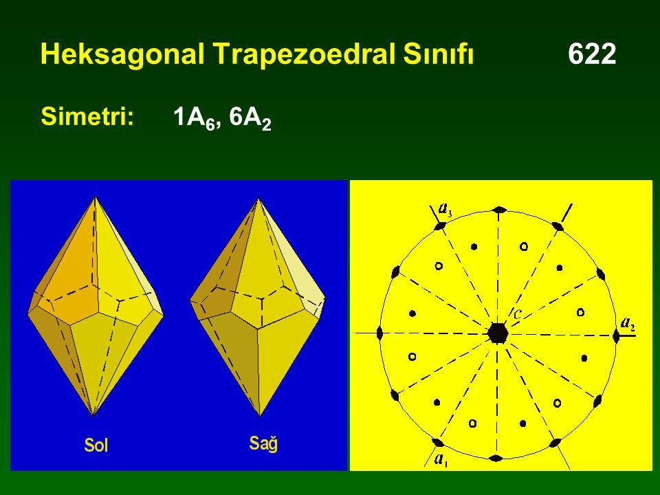 Heksagonal Trapezoedral Sınıfı622 Simetri:1A 6, 6A 2