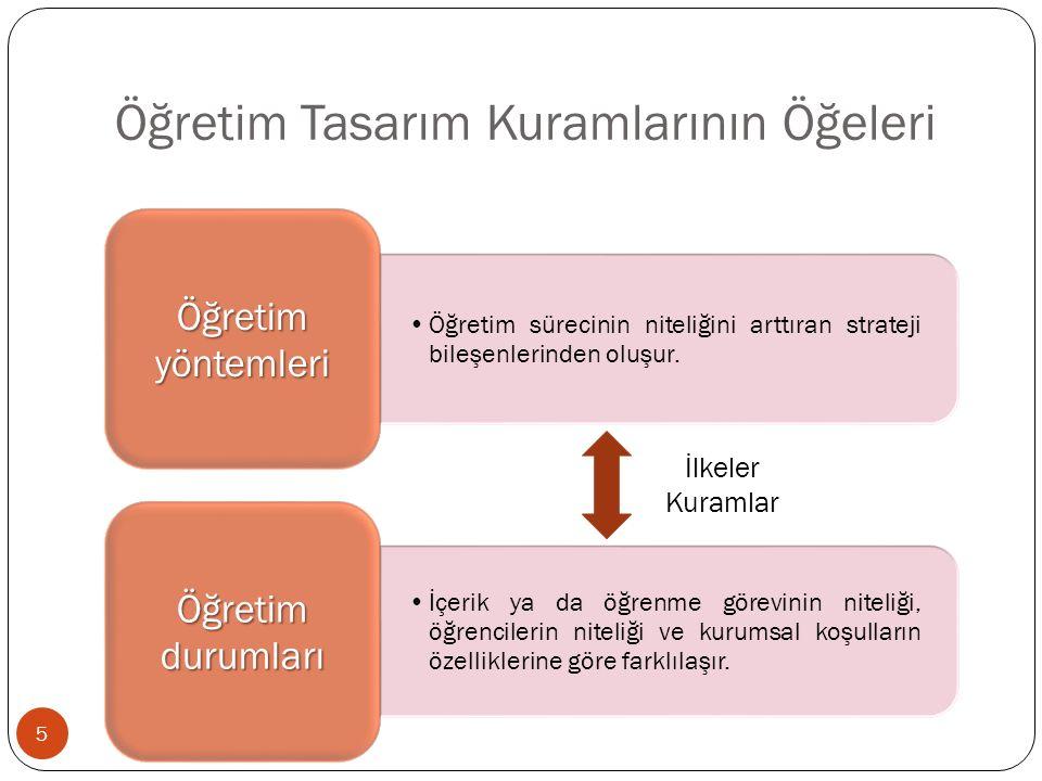 Öğretim Tasarım Kuramlarının Öğeleri Öğretim sürecinin niteliğini arttıran strateji bileşenlerinden oluşur.