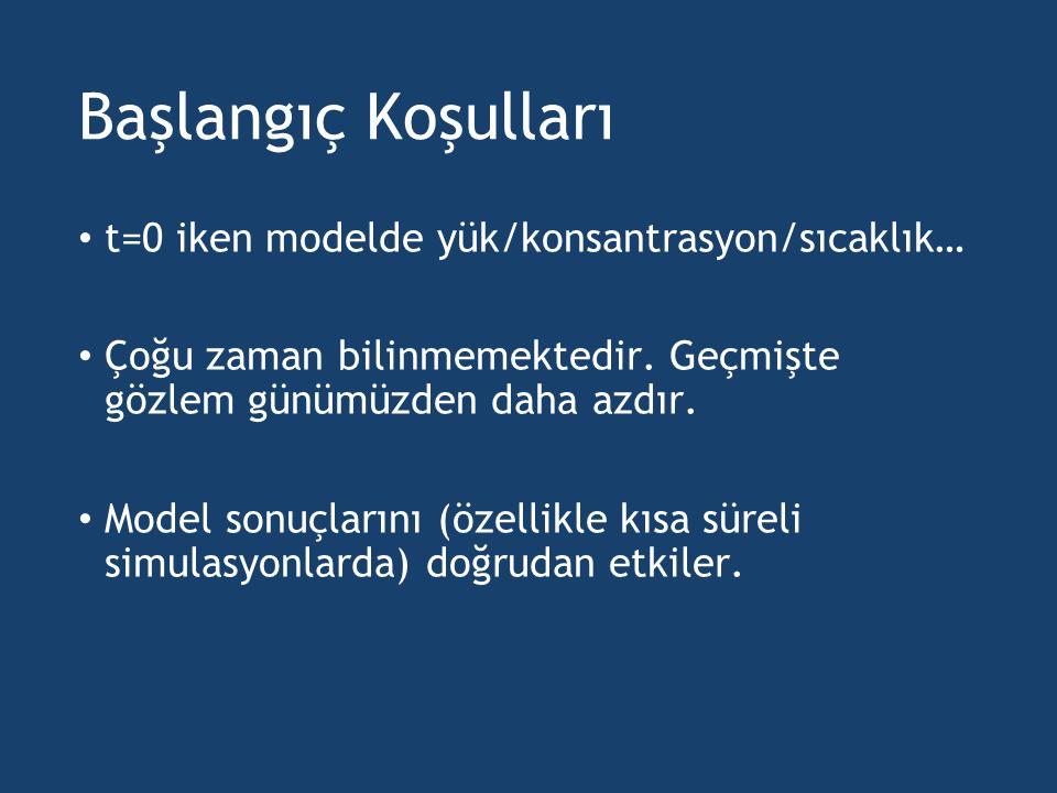 Başlangıç Koşulları t=0 iken modelde yük/konsantrasyon/sıcaklık… Çoğu zaman bilinmemektedir. Geçmişte gözlem günümüzden daha azdır. Model sonuçlarını