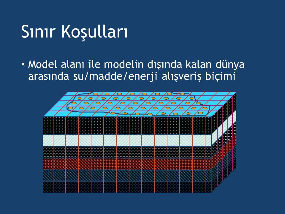 Sınır Koşulları Model alanı ile modelin dışında kalan dünya arasında su/madde/enerji alışveriş biçimi