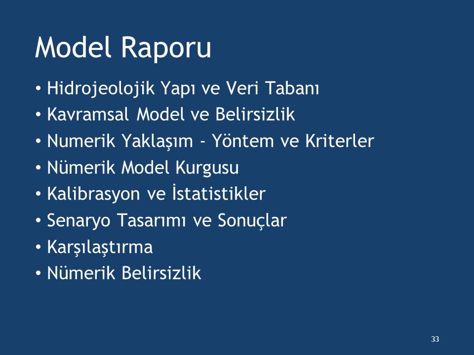 Model Raporu Hidrojeolojik Yapı ve Veri Tabanı Kavramsal Model ve Belirsizlik Numerik Yaklaşım - Yöntem ve Kriterler Nümerik Model Kurgusu Kalibrasyon