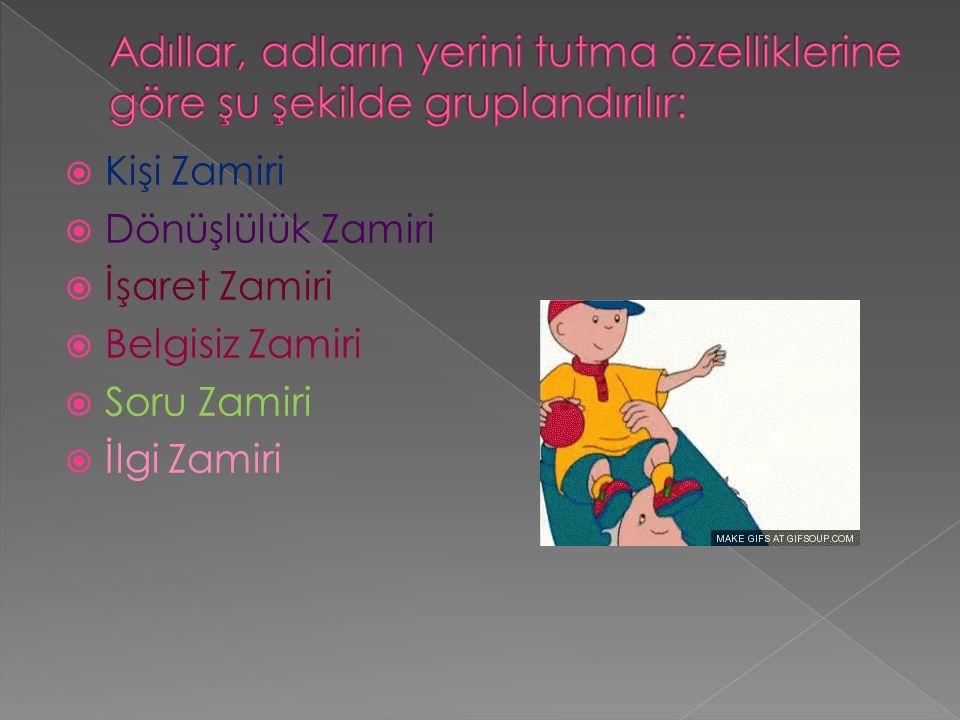  Kişi Zamiri  Dönüşlülük Zamiri  İşaret Zamiri  Belgisiz Zamiri  Soru Zamiri  İlgi Zamiri