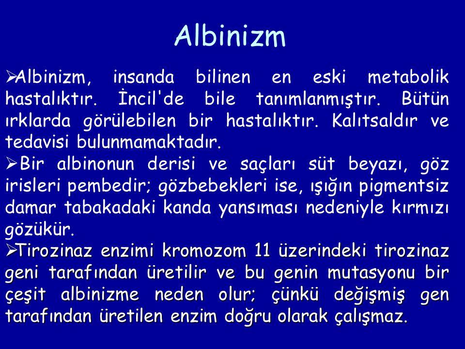  Albinizm, insanda bilinen en eski metabolik hastalıktır. İncil'de bile tanımlanmıştır. Bütün ırklarda görülebilen bir hastalıktır. Kalıtsaldır ve te