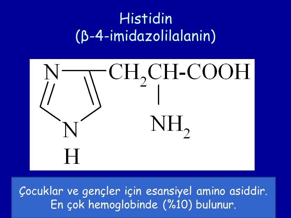 Histidin (β-4-imidazolilalanin) Çocuklar ve gençler için esansiyel amino asiddir. En çok hemoglobinde (%10) bulunur.