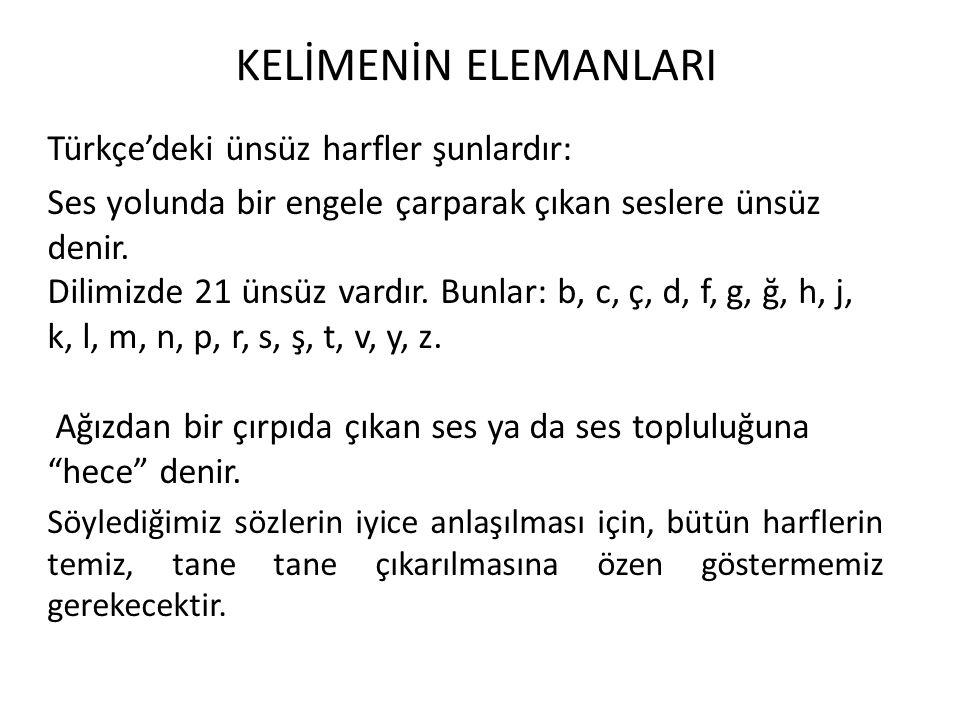 KELİMENİN ELEMANLARI Türkçe'deki ünsüz harfler şunlardır: Ses yolunda bir engele çarparak çıkan seslere ünsüz denir. Dilimizde 21 ünsüz vardır. Bunlar