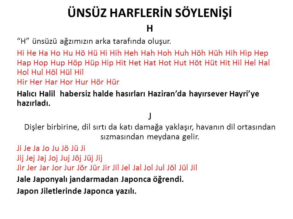 """ÜNSÜZ HARFLERİN SÖYLENİŞİ H """"H"""" ünsüzü ağzımızın arka tarafında oluşur. Hi He Ha Ho Hu Hö Hü Hi Hih Heh Hah Hoh Huh Höh Hüh Hih Hip Hep Hap Hop Hup Hö"""