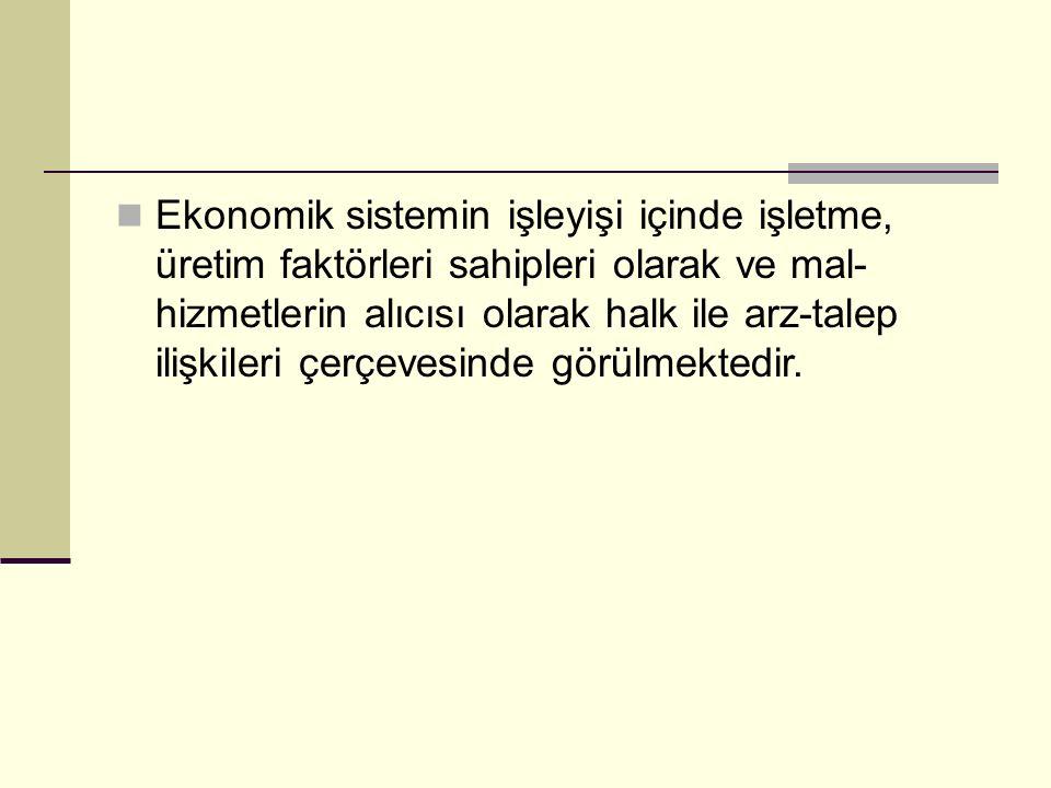 Ekonomik sistemin işleyişi içinde işletme, üretim faktörleri sahipleri olarak ve mal- hizmetlerin alıcısı olarak halk ile arz-talep ilişkileri çerçevesinde görülmektedir.