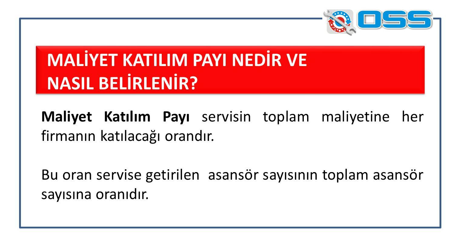 Maliyet Katılım Payı servisin toplam maliyetine her firmanın katılacağı orandır.