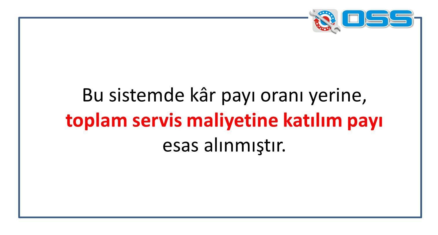 Bu sistemde kâr payı oranı yerine, toplam servis maliyetine katılım payı esas alınmıştır.