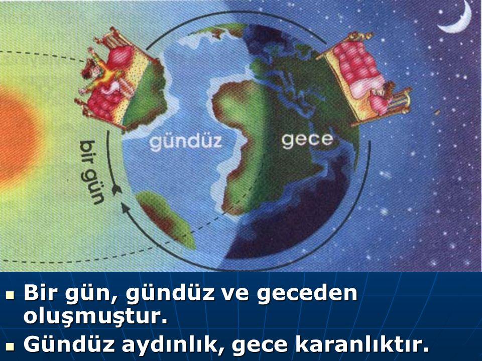 Dünya kendi çevresinde batıdan doğuya doğru döner.Bu dönme sırasında güneş ışığı alan bölümünde gündüz olur.Güneş ışığı almayan bölümünde ise gece olu