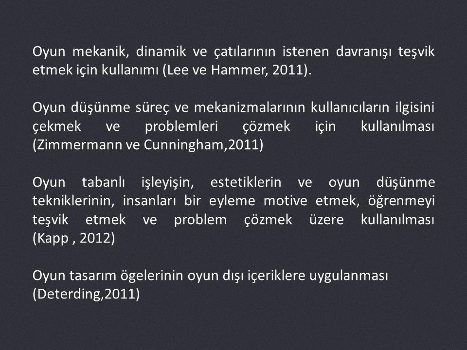 Oyun mekanik, dinamik ve çatılarının istenen davranışı teşvik etmek için kullanımı (Lee ve Hammer, 2011).