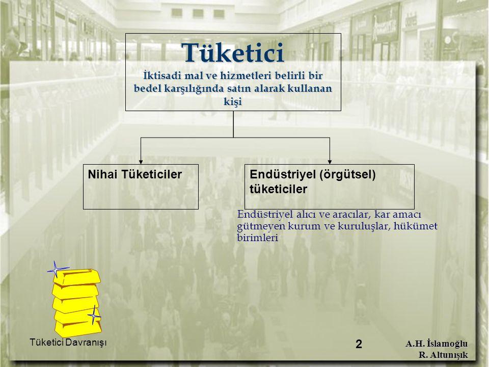 A.H. İslamoğlu R. Altunışık Tüketici Davranışı 2 Tüketici İktisadi mal ve hizmetleri belirli bir bedel karşılığında satın alarak kullanan kişi Endüstr
