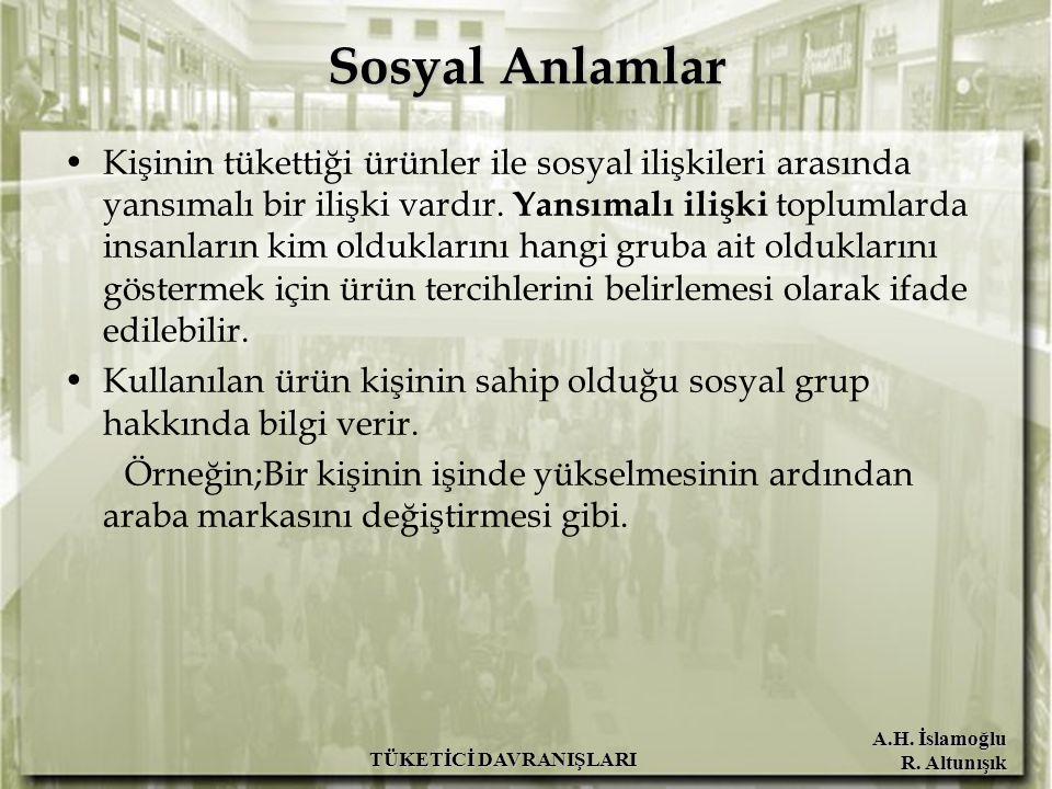 A.H. İslamoğlu R. Altunışık TÜKETİCİ DAVRANIŞLARI Sosyal Anlamlar Kişinin tükettiği ürünler ile sosyal ilişkileri arasında yansımalı bir ilişki vardır