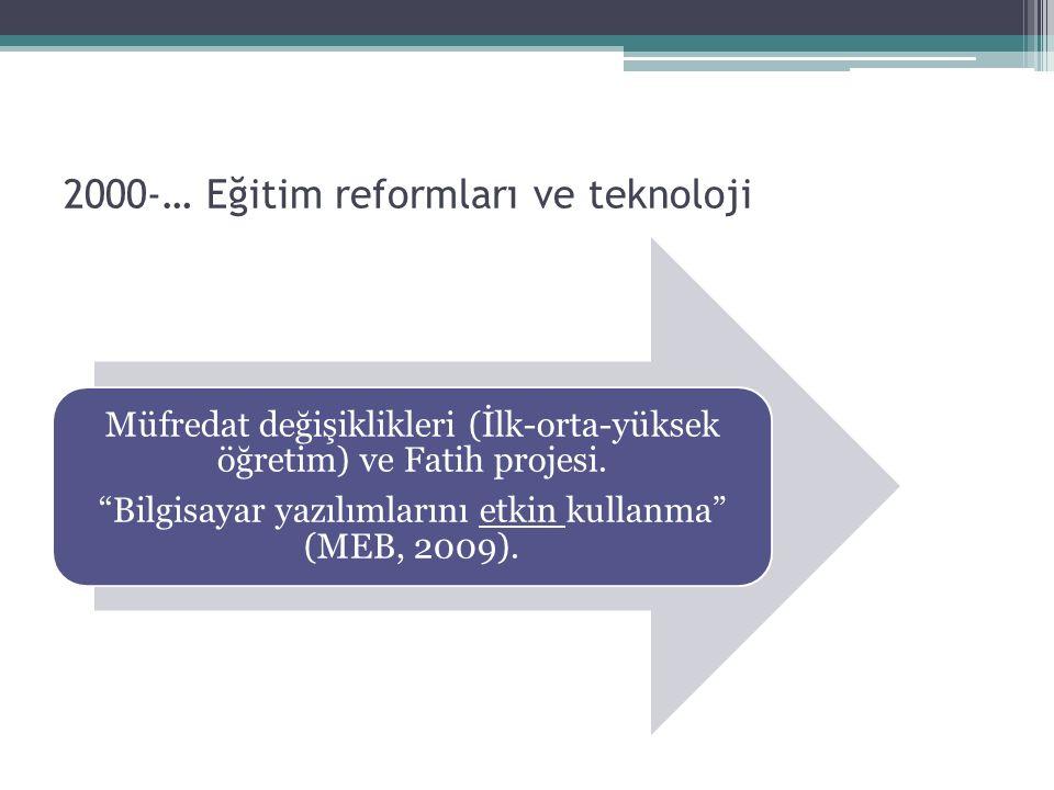 """2000-… Eğitim reformları ve teknoloji Müfredat değişiklikleri (İlk-orta-yüksek öğretim) ve Fatih projesi. """"Bilgisayar yazılımlarını etkin kullanma"""" (M"""