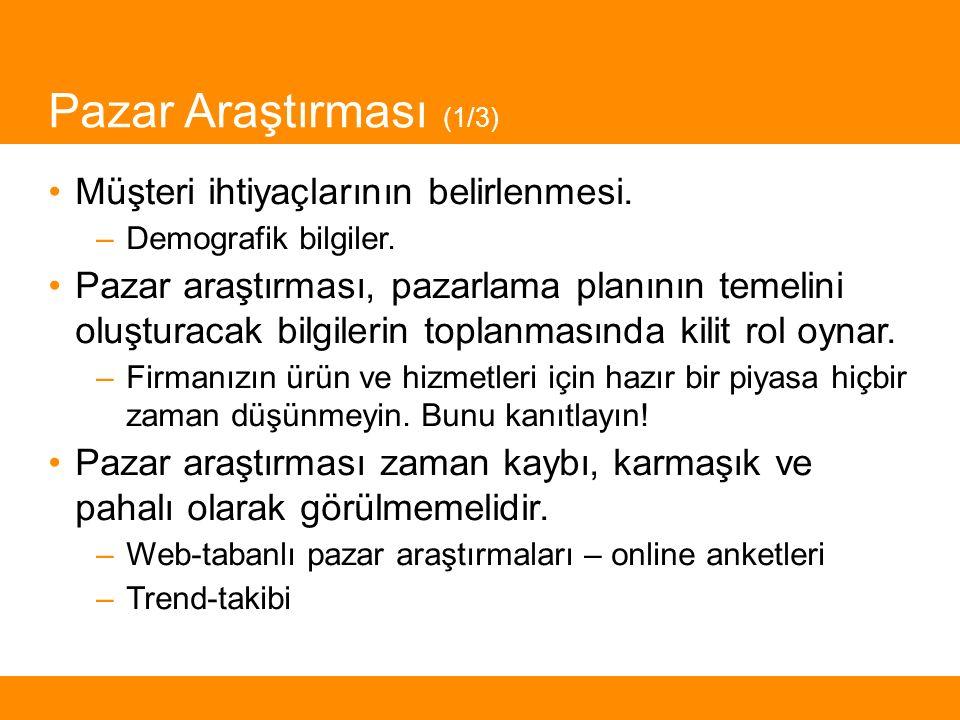 Pazar Araştırması (1/3) Müşteri ihtiyaçlarının belirlenmesi.