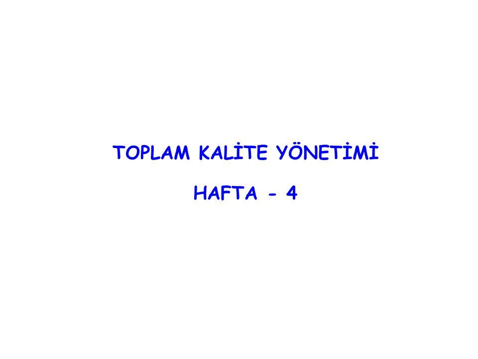 TOPLAM KALİTE YÖNETİMİ HAFTA - 4