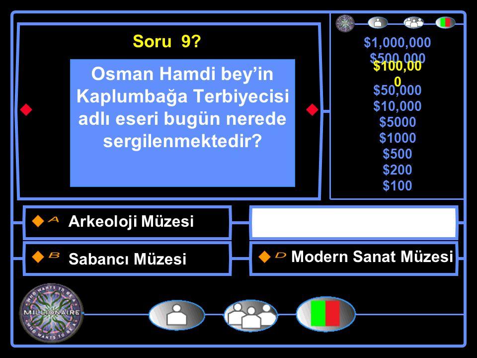 $1,000,000 $500,000 $100,000 $50,000 $10,000 $5000 $1000 $500 $200 $100 Osman Hamdi bey'in Kaplumbağa Terbiyecisi adlı eseri bugün nerede sergilenmektedir.