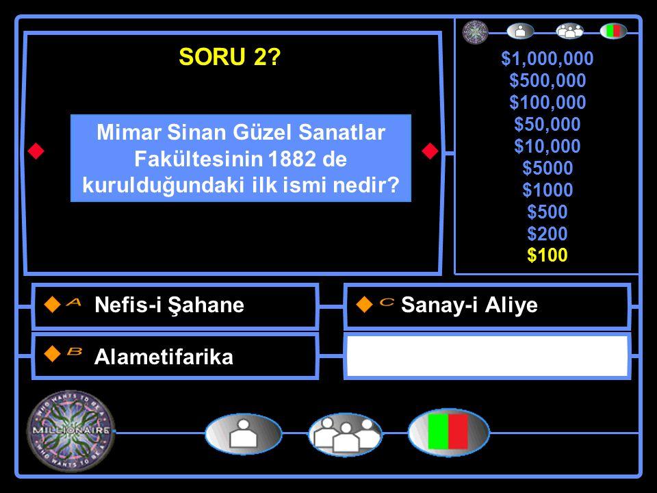 $1,000,000 $500,000 $100,000 $50,000 $10,000 $5000 $1000 $500 $200 $100 Mimar Sinan Güzel Sanatlar Fakültesinin 1882 de kurulduğundaki ilk ismi nedir.