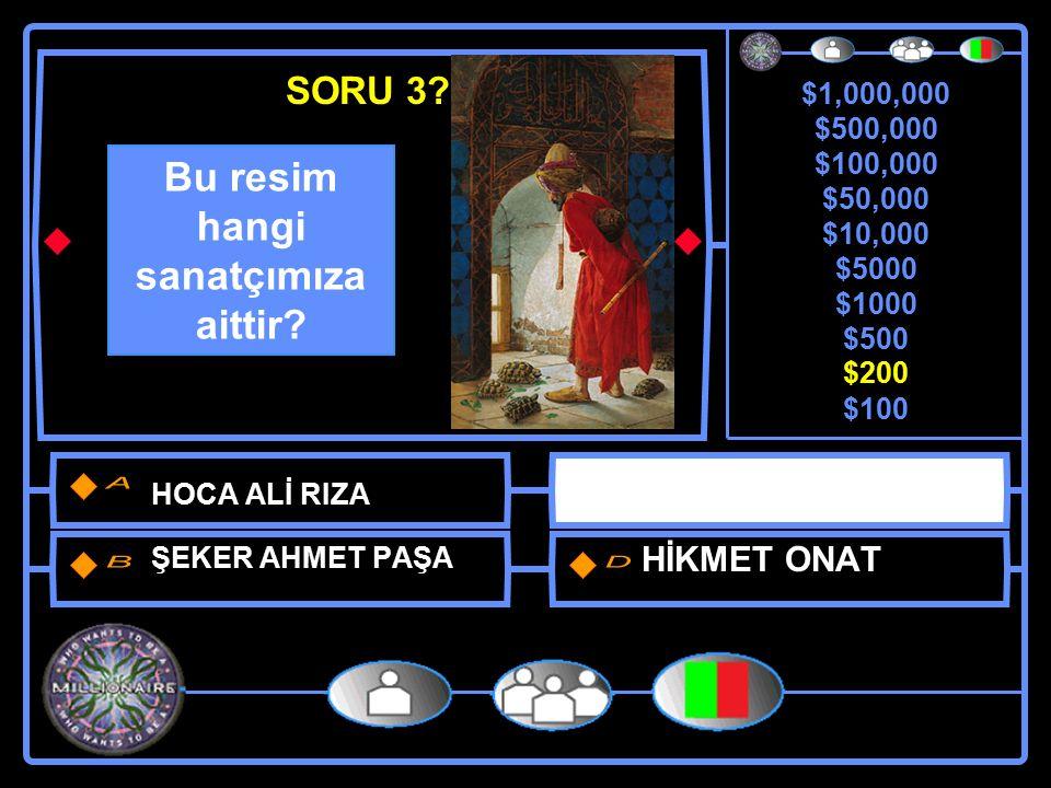 $1,000,000 $500,000 $100,000 $50,000 $10,000 $5000 $1000 $500 $200 $100 Osman Hamdi Bey İstanbul'un Hangi İlçesinin ilk belediye başkanı olmustur.