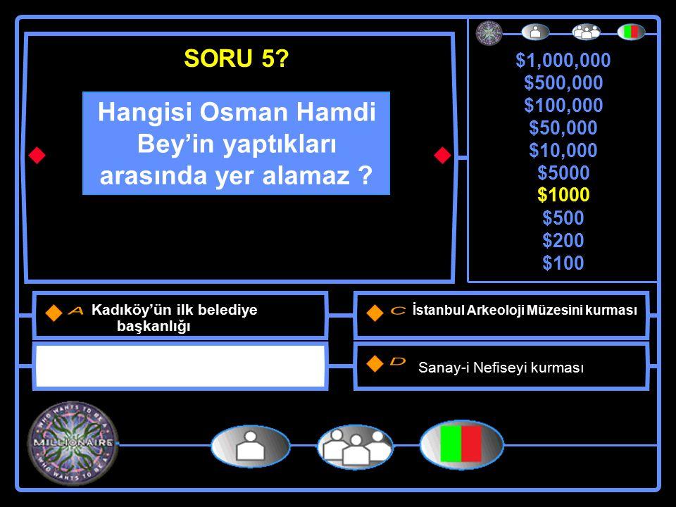 $1,000,000 $500,000 $100,000 $50,000 $10,000 $5000 $1000 $500 $200 $100 Osman Hamdi yaptığı arkeolojik kazıda hangi eseri ortaya çıkartıp sergilenmesini sağladı.