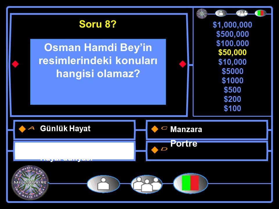 $1,000,000 $500,000 $100,000 $50,000 $10,000 $5000 $1000 $500 $200 $100 Osman Hamdi Bey'in resimlerindeki konuları hangisi olamaz.