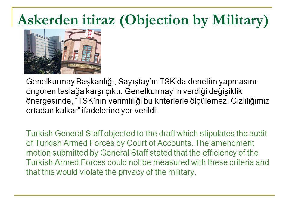 Askerden itiraz (Objection by Military) Genelkurmay Başkanlığı, Sayıştay'ın TSK'da denetim yapmasını öngören taslağa karşı çıktı.
