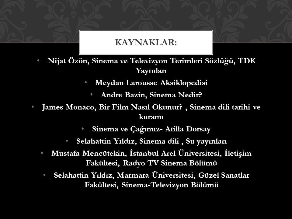 Nijat Özön, Sinema ve Televizyon Terimleri Sözlüğü, TDK Yayınları Meydan Larousse Aksiklopedisi Andre Bazin, Sinema Nedir.