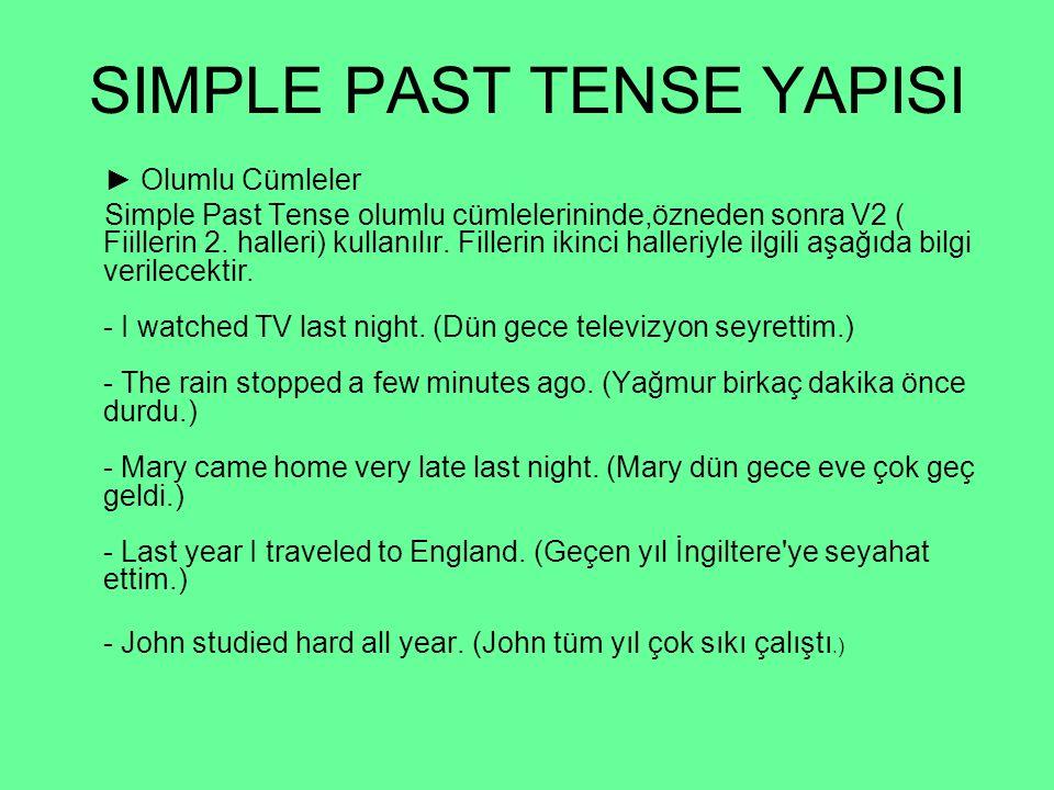SIMPLE PAST TENSE YAPISI ► Olumlu Cümleler Simple Past Tense olumlu cümlelerininde,özneden sonra V2 ( Fiillerin 2. halleri) kullanılır. Fillerin ikinc