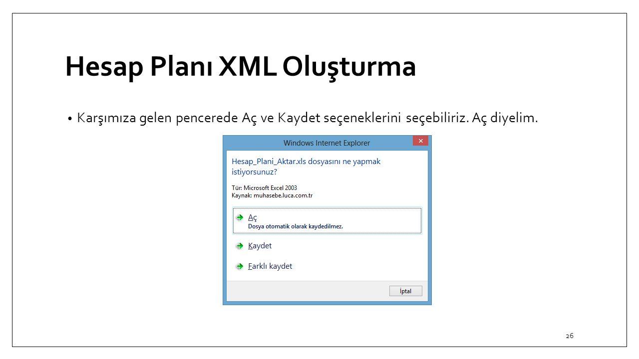 Hesap Planı XML Oluşturma Karşımıza gelen pencerede Aç ve Kaydet seçeneklerini seçebiliriz. Aç diyelim. 26