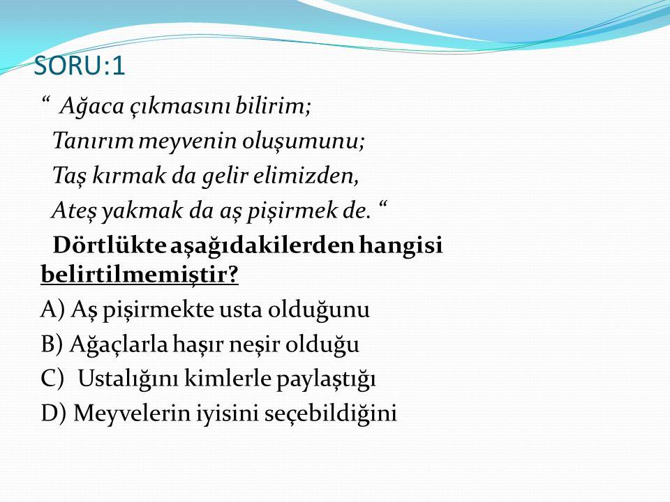 SORU 15: O yıllarda Anadolu'nun her yeri birbirine benziyordu. cümlesinin olumsuz soru biçimi aşağıdakilerden hangisidir.
