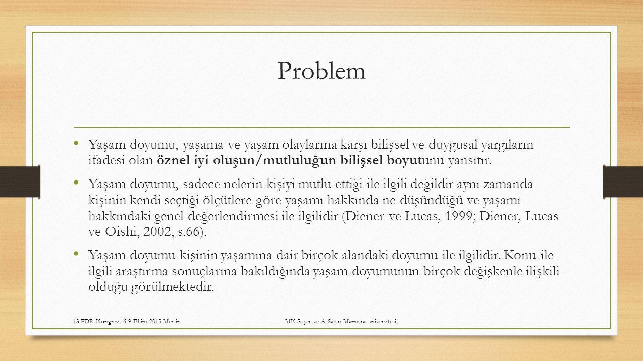 13.PDR Kongresi, 6-9 Ekim 2015 Mersin MK Soyer ve A Satan Marmara üniversitesi Tablo 9.