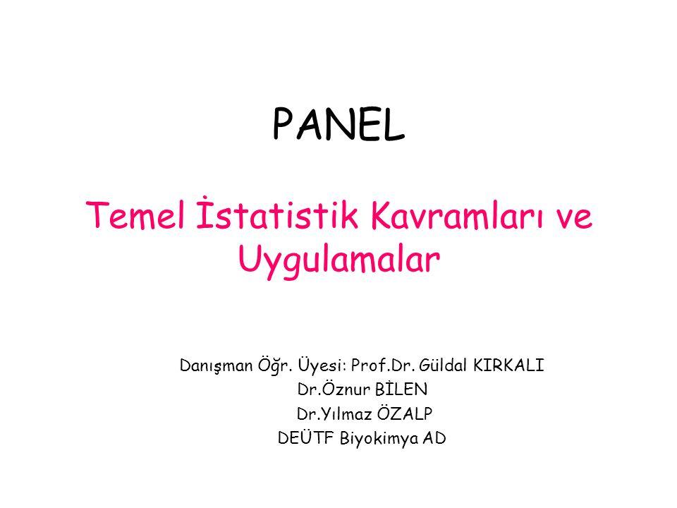 PANEL Temel İstatistik Kavramları ve Uygulamalar Danışman Öğr.