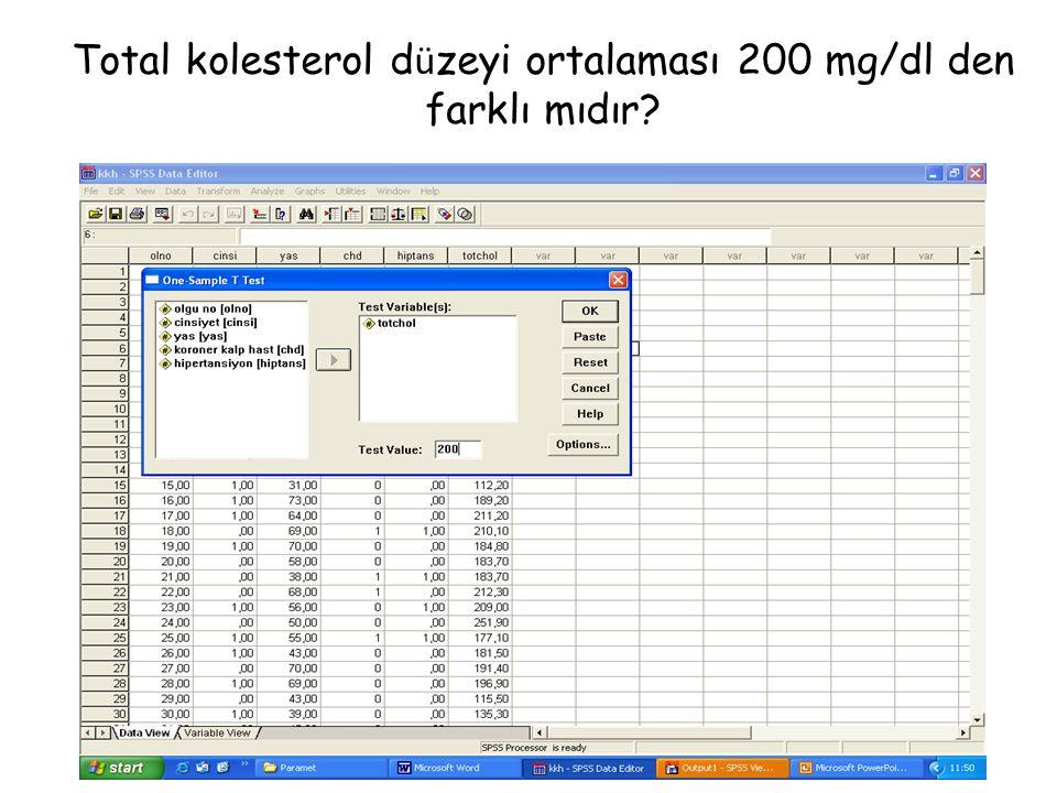 Total kolesterol d ü zeyi ortalaması 200 mg/dl den farklı mıdır