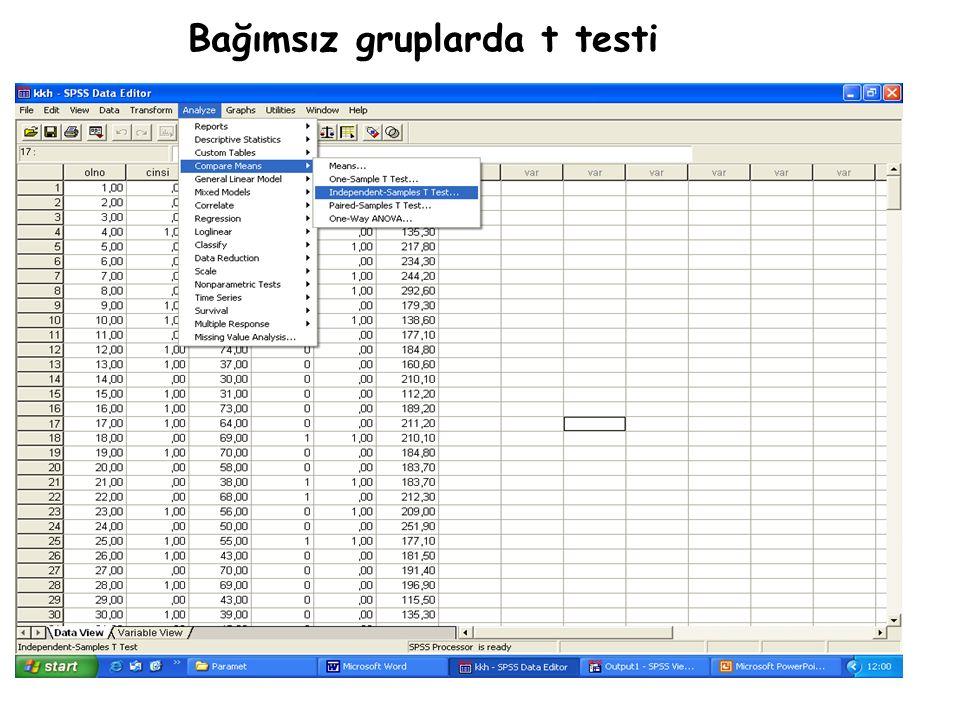 Bağımsız gruplarda t testi