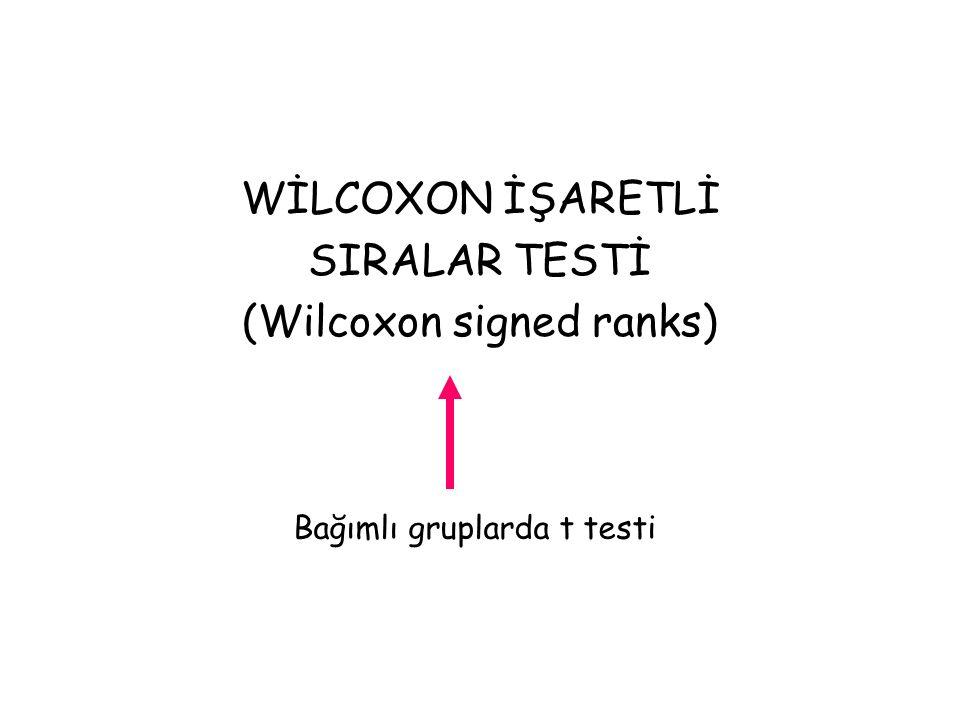 WİLCOXON İŞARETLİ SIRALAR TESTİ (Wilcoxon signed ranks) Bağımlı gruplarda t testi