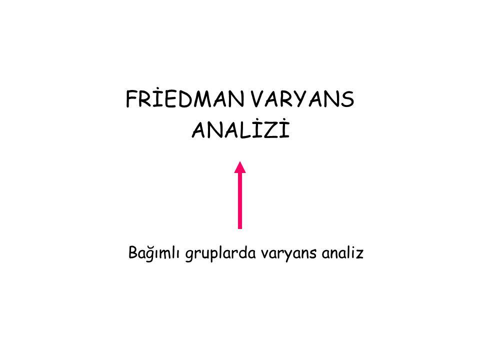FRİEDMAN VARYANS ANALİZİ Bağımlı gruplarda varyans analiz