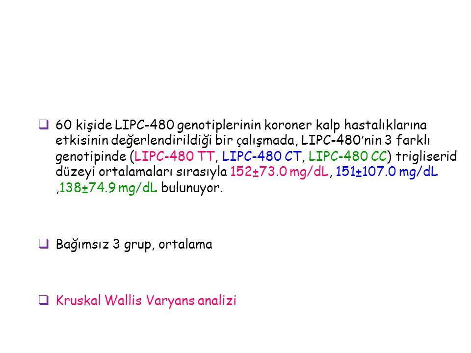  60 kişide LIPC-480 genotiplerinin koroner kalp hastalıklarına etkisinin değerlendirildiği bir ç alışmada, LIPC-480 ' nin 3 farklı genotipinde (LIPC-480 TT, LIPC-480 CT, LIPC-480 CC) trigliserid d ü zeyi ortalamaları sırasıyla 152±73.0 mg/dL, 151±107.0 mg/dL,138±74.9 mg/dL bulunuyor.