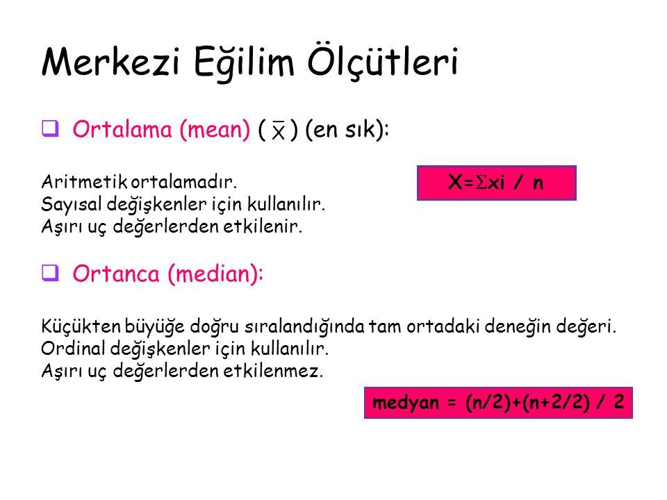 Merkezi Eğilim Ölçütleri  Ortalama (mean) ( ¯ ) (en sık): Aritmetik ortalamadır.