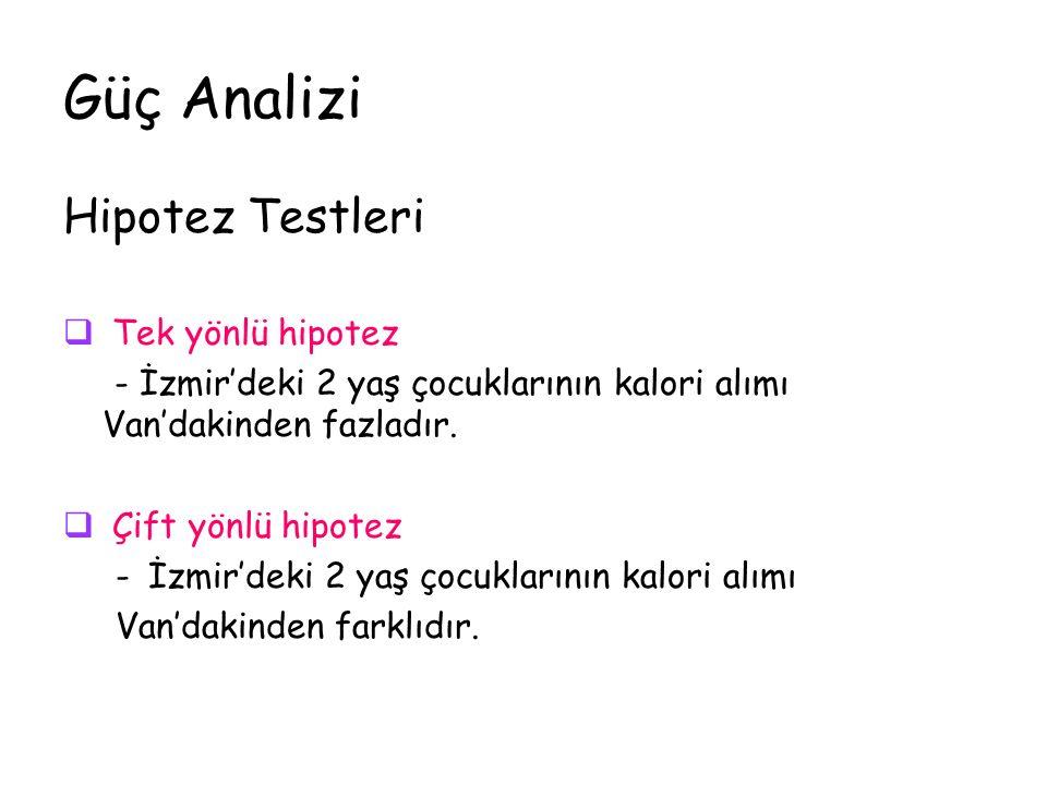 Güç Analizi Hipotez Testleri  Tek yönlü hipotez - İzmir'deki 2 yaş çocuklarının kalori alımı Van'dakinden fazladır.