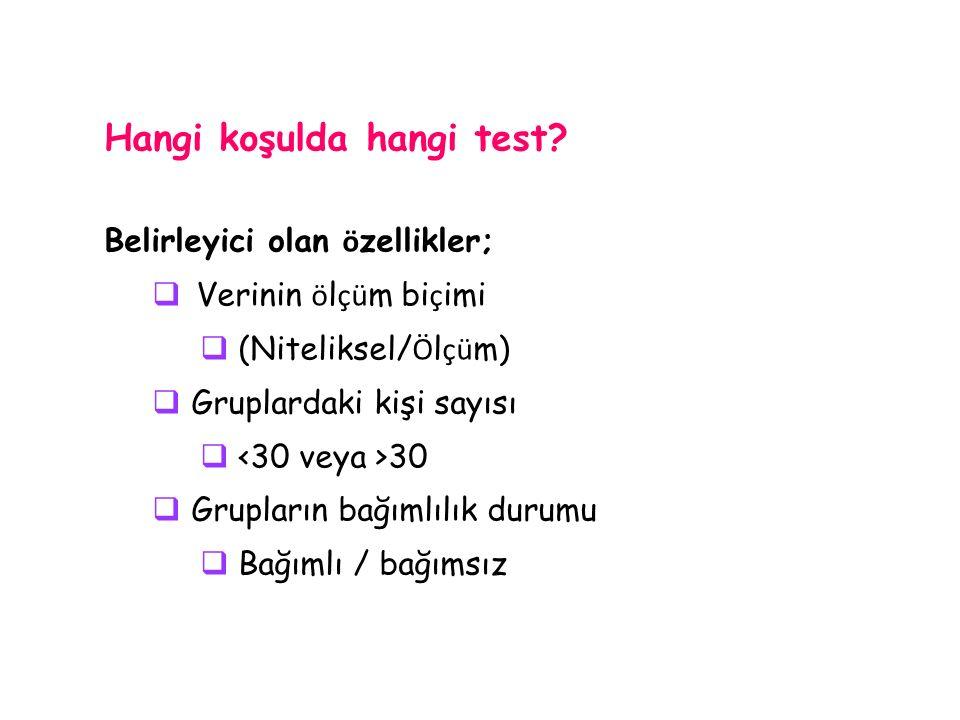 Hangi koşulda hangi test.