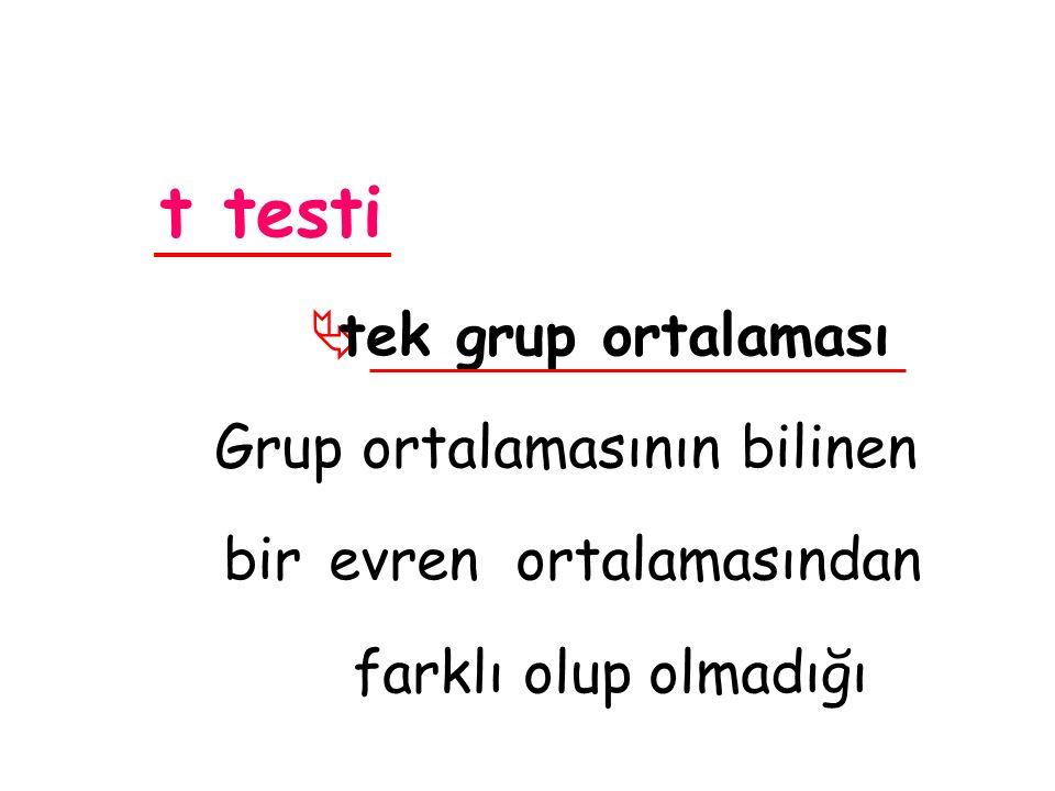 t testi  tek grup ortalaması Grup ortalamasının bilinen bir evren ortalamasından farklı olup olmadığı