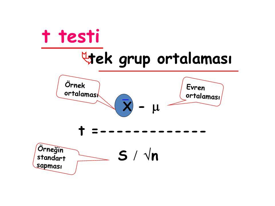 t testi  tek grup ortalaması  X -  t =------------- S   n Örnek ortalaması Evren ortalaması Örneğin standart sapması