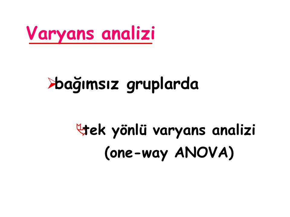 Varyans analizi  bağımsız gruplarda  tek yönlü varyans analizi (one-way ANOVA)
