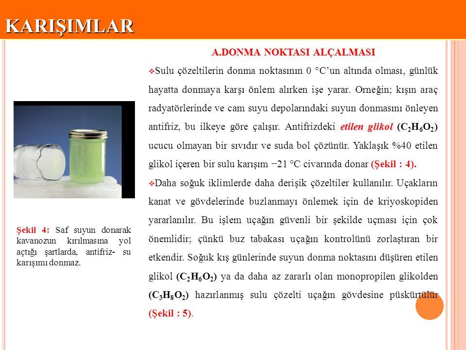 KARIŞIMLARKARIŞIMLAR Şekil 5: Buz giderici işlemde kullanılan sulu çözeltinin donma noktası suya göre daha düşük olduğundan buzun erimesi sağlanır..