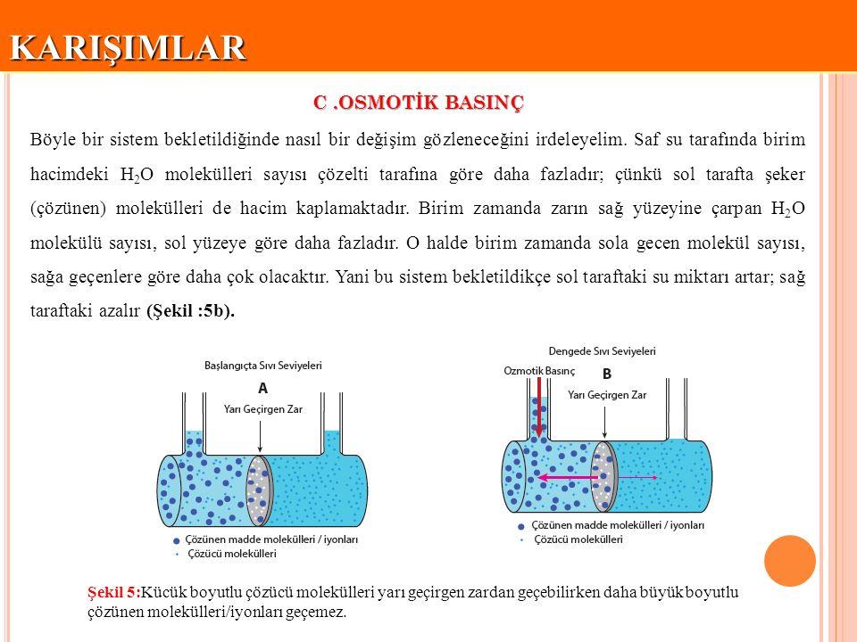 KARIŞIMLARKARIŞIMLAR C.OSMOTİK BASINÇ osmoz osmotik denge  Yarı geçirgen zarların küçük moleküllerin geçişine imkan verirken büyük molekülleri tutması olayı osmoz adını alır.