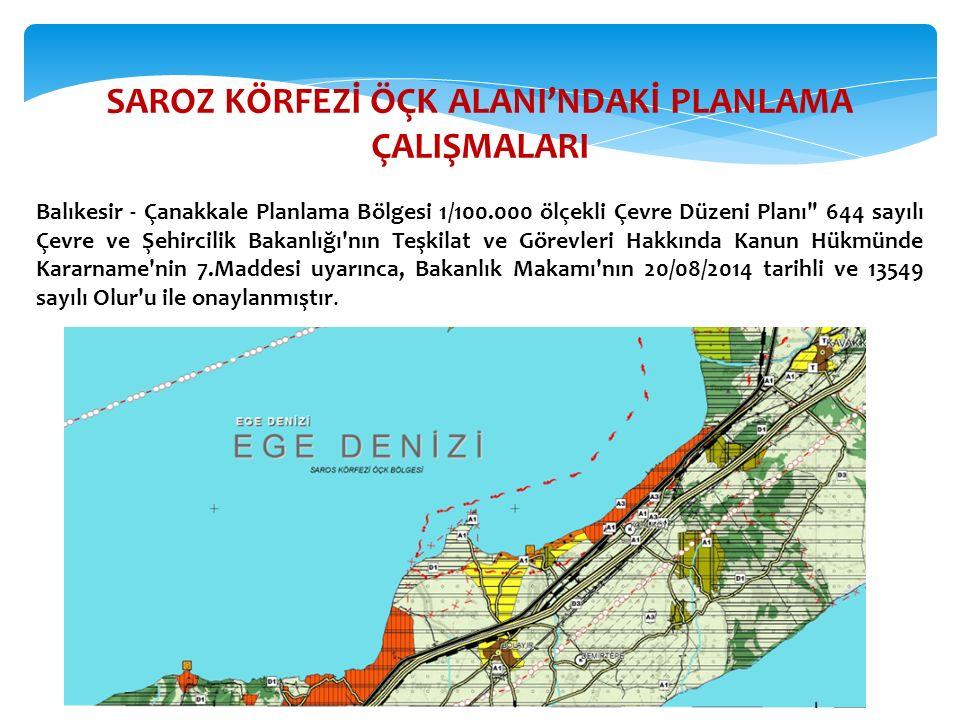 SAROZ KÖRFEZİ ÖÇK ALANI'NDAKİ PLANLAMA ÇALIŞMALARI Balıkesir - Çanakkale Planlama Bölgesi 1/100.000 ölçekli Çevre Düzeni Planı