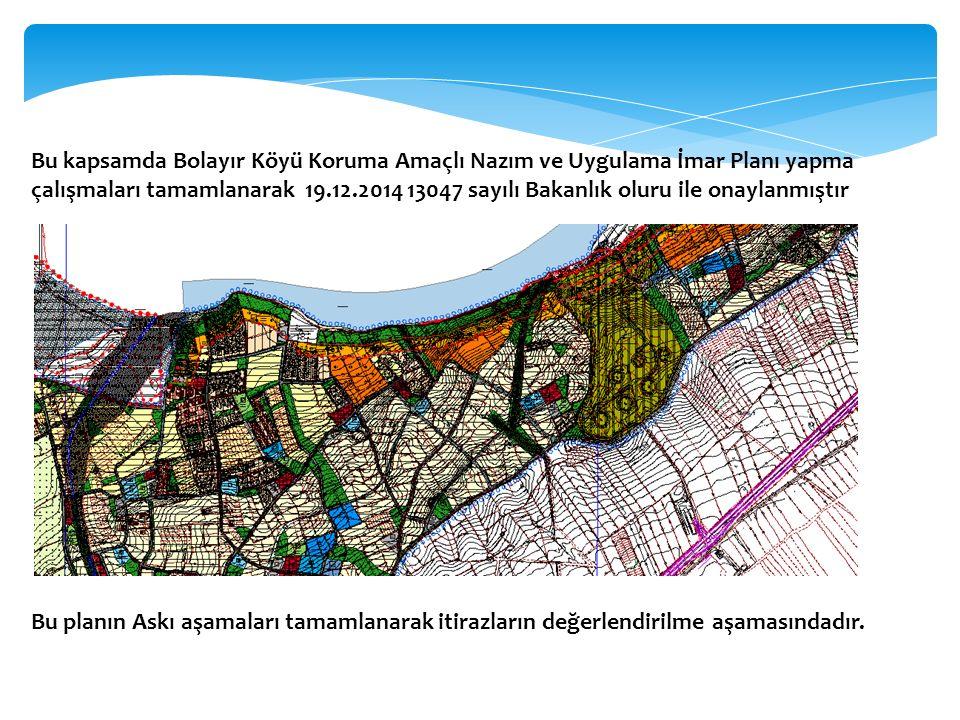 Bu kapsamda Bolayır Köyü Koruma Amaçlı Nazım ve Uygulama İmar Planı yapma çalışmaları tamamlanarak 19.12.2014 13047 sayılı Bakanlık oluru ile onaylanm