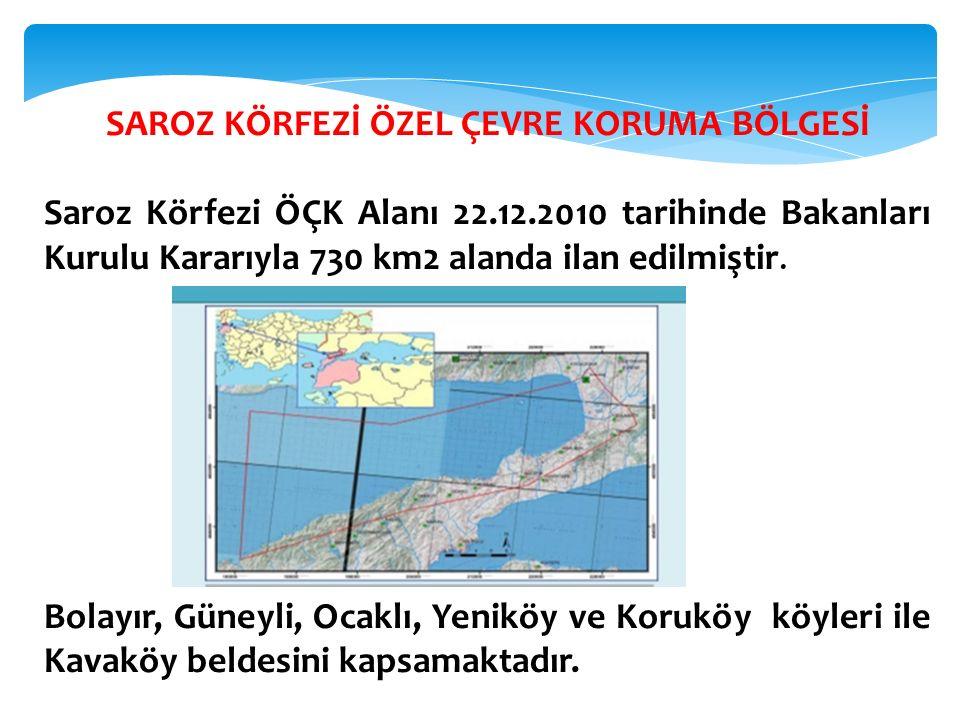SAROZ KÖRFEZİ ÖZEL ÇEVRE KORUMA BÖLGESİ Saroz Körfezi ÖÇK Alanı 22.12.2010 tarihinde Bakanları Kurulu Kararıyla 730 km2 alanda ilan edilmiştir. Bolayı
