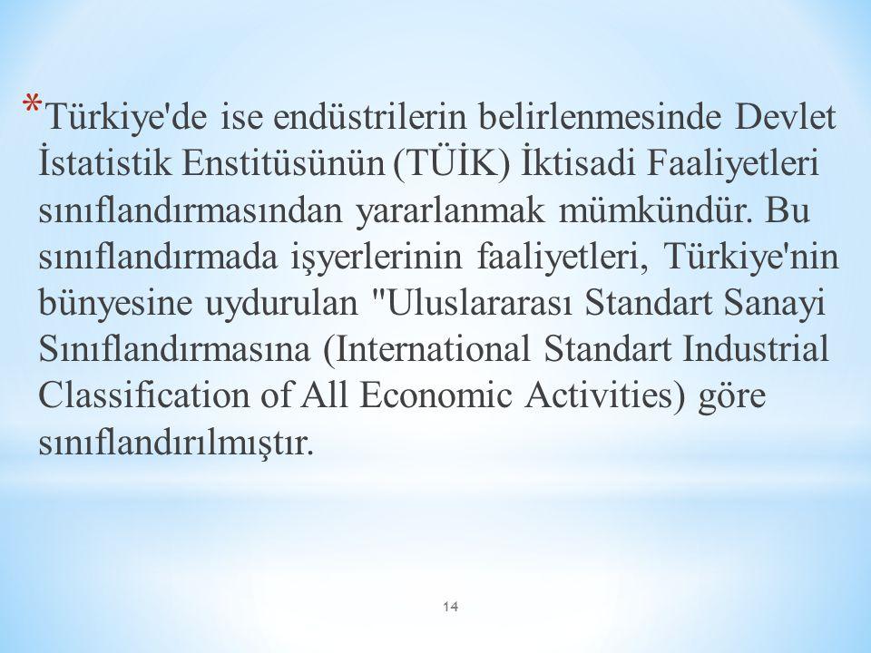 * Türkiye'de ise endüstrilerin belirlenmesinde Devlet İstatistik Enstitüsünün (TÜİK) İktisadi Faaliyetleri sınıflandırmasından yararlanmak mümkündür.